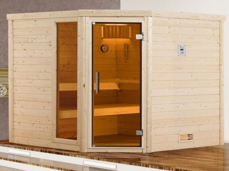 WEKA Heimsauna Massivholzsauna TURKU 1 Glastüre u. Fenster Sparset Biokombi-Ofen-Set