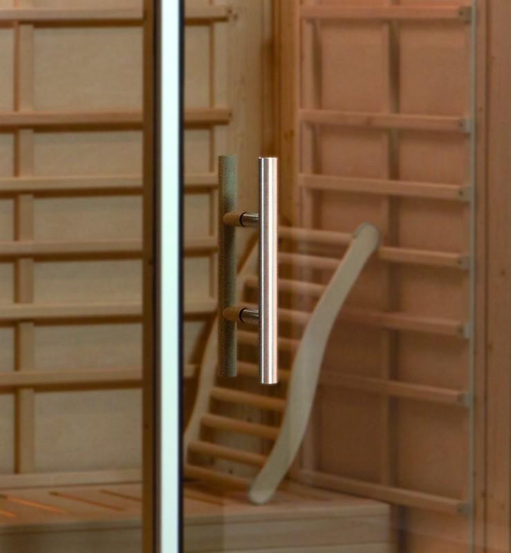 WEKA Heimsauna Wellnissage Designsauna I Fenster links Grigio - grau
