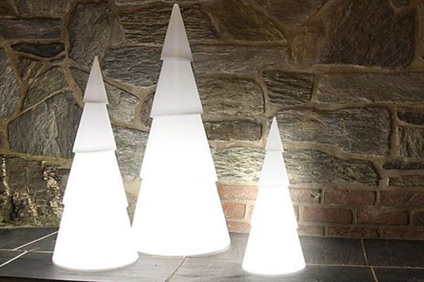 8 Seasons Designs - Shining Christmas Tree rund - Hoch 55 cm - Farbe weiß in Kunststoff