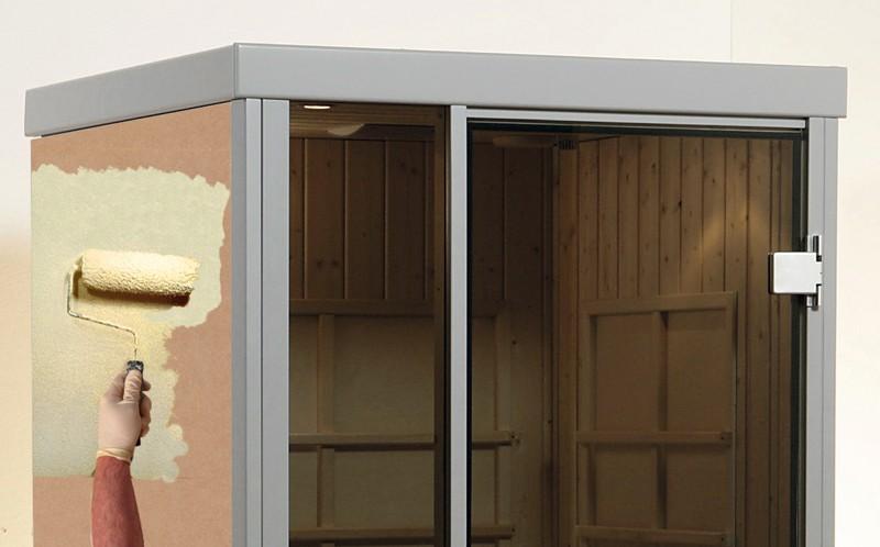 WEKA Heimsauna Wellnissage Designsauna I Fenster rechts Rosso - rot