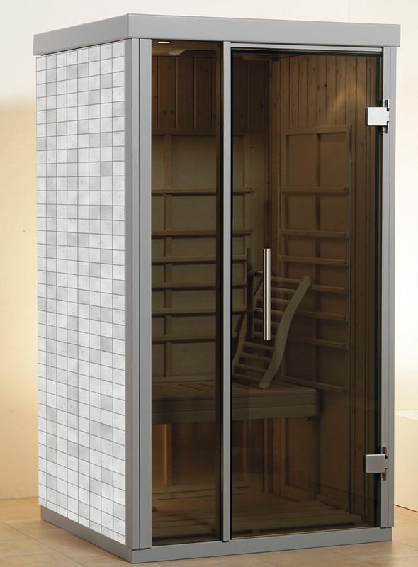 WEKA Heimsauna Wellnissage Designsauna II Fenster rechts Grigio