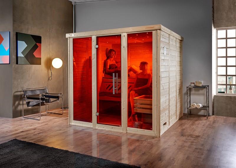WEKA Heimsauna Massivholzsauna Sauna mit Glas Deisgn-Sauna Kemi Panorama 3