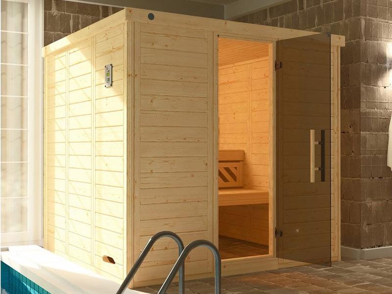 WEKA Heimsauna Massivholzsauna Design-Sauna Kemi 4 mit Glastüre