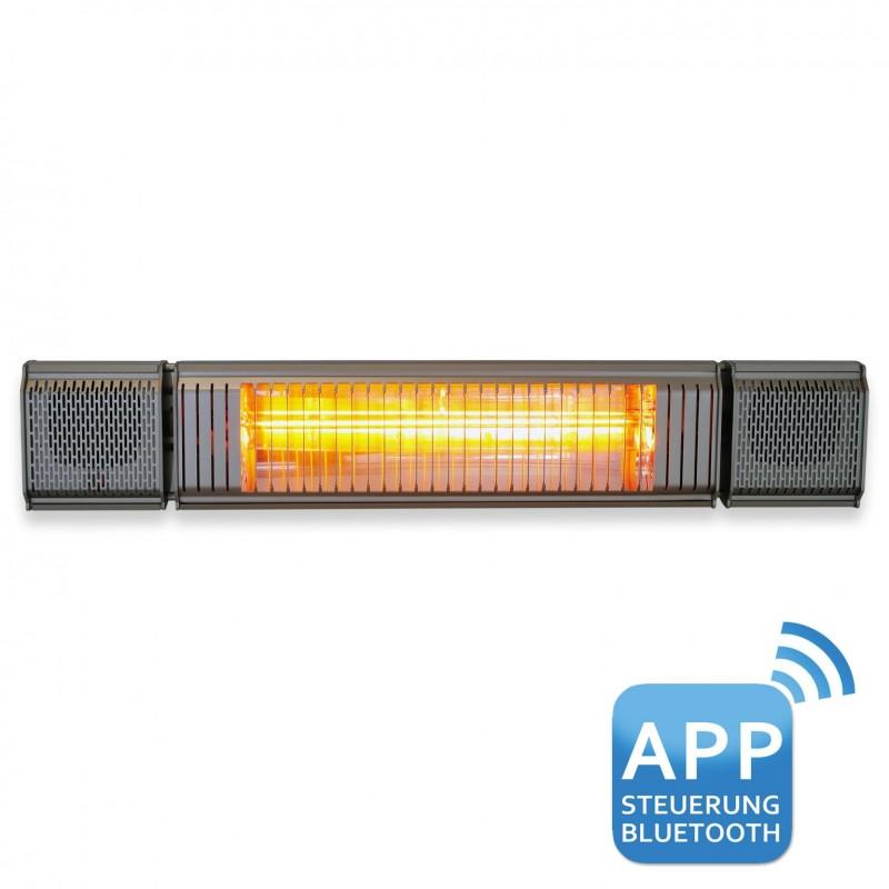 VASNER Appino BEATZZ Infrarot-Heizstrahler, Terrassenstrahler dimmbar 2000 W, Bluetooth, LED Backlight Licht, Musik-Lautsprecher Außenbereich Farbe: schwarz