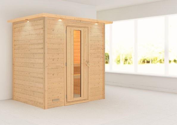 Woodfeeling 38 mm Massiv Sauna Sonja Classic (Fronteinstieg) mit Dachkranz und Energiespartür