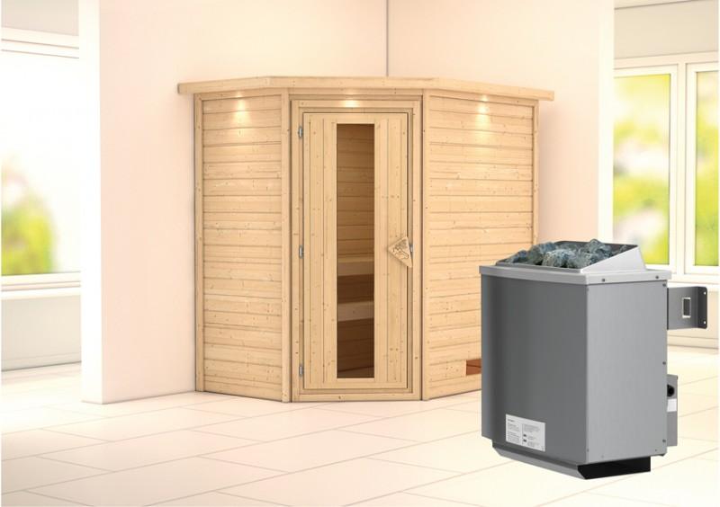 Woodfeeling 38 mm Massivholz Sauna Svea (Eckeinstieg) Ofen 9 kW integr. Strg  Heimsauna