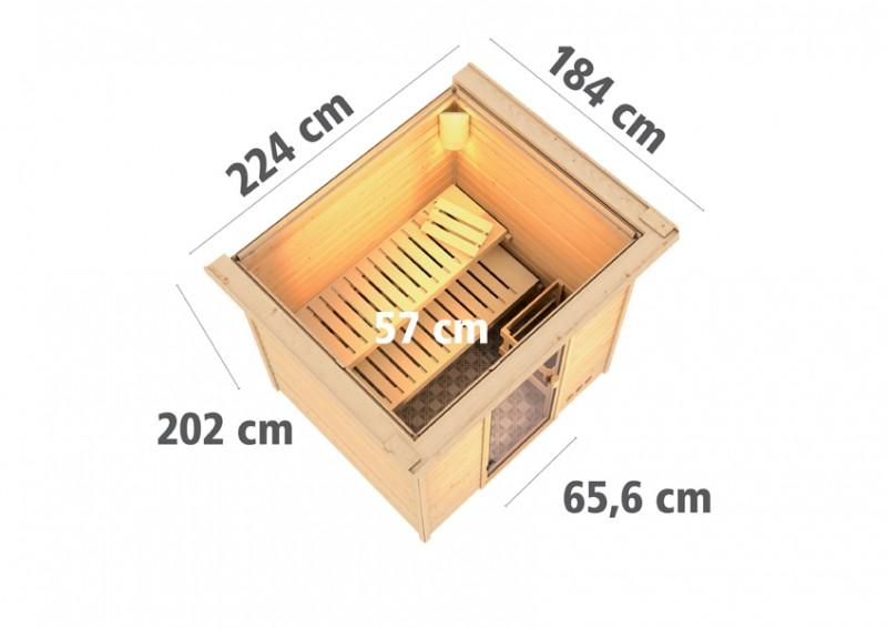 Woodfeeling 38 mm Massivholz Sauna Anja (Fronteinstieg) Ofen 9 kW Bio externe Strg modern Heimsauna