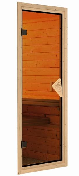 Woodfeeling 38 mm Massivholz Sauna Mia  (Eckeinstieg)  Ofen 9 kW integr. Strg  Heimsauna