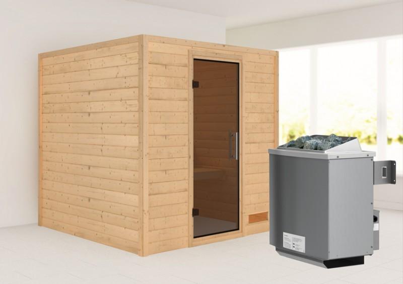 Woodfeeling 38 mm Massivholz Sauna Nora (Fronteinstieg) Ofen 9 kW integr. Strg  Heimsauna