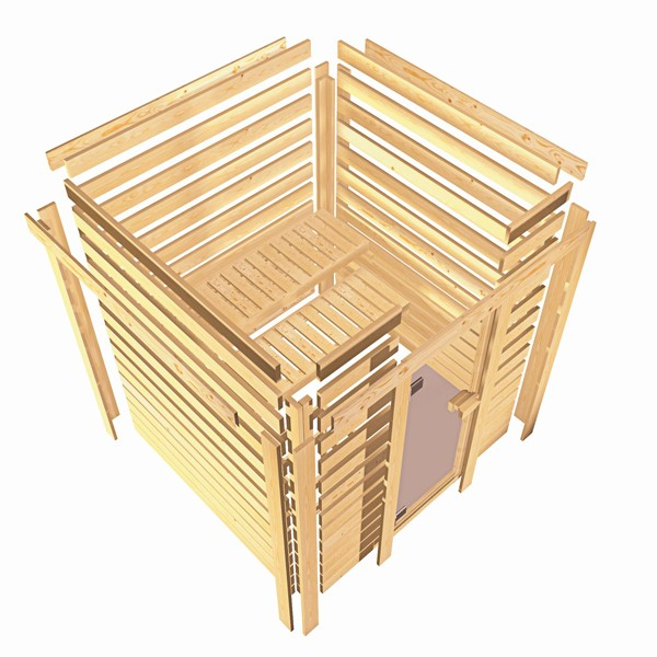Woodfeeling 38 mm Massivholz Sauna Nina (Eckeinstieg) Ofen 9 KW externe Strg modern Heimsauna