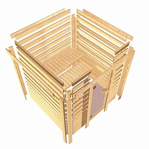 Woodfeeling 38 mm Massivholz Sauna Leona (Eckeinstieg) Ofen 9 kW integr. Strg  Heimsauna