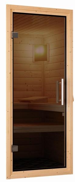 Woodfeeling 38 mm Massivholz Sauna Leona (Eckeinstieg) Ofen 9 kW Bio externe Strg modern Heimsauna