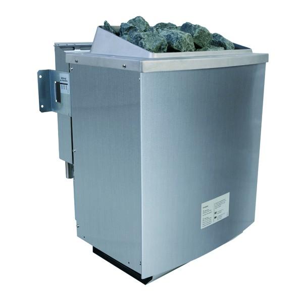 Woodfeeling 38 mm Massivholz Sauna Alabasta 2 (Fronteinstieg)  Ofen 9 kW Bio externe Strg modern Sauna mit Glas
