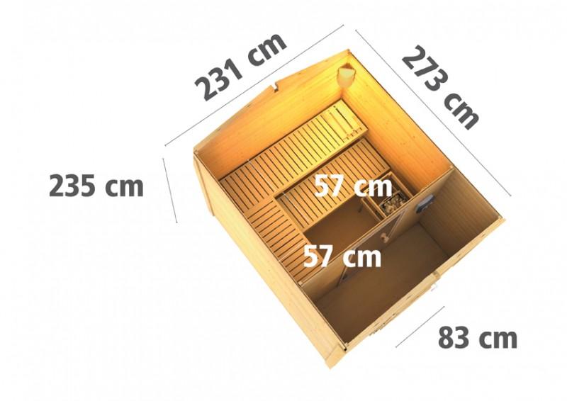 Woodfeeling Massives 38 mm Saunahaus Birka 1 inkl Vorraum ohne Zubehör Gartensauna