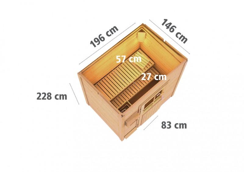 Woodfeeling 38 mm Saunahaus Jana ohne Ofen - naturbelassen - ohne Vorraum