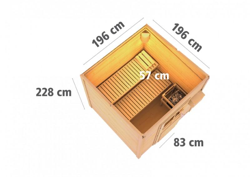 Woodfeeling Massives 38 mm Saunahaus Taina Ofen 9 KW externe Strg modern Gartensauna