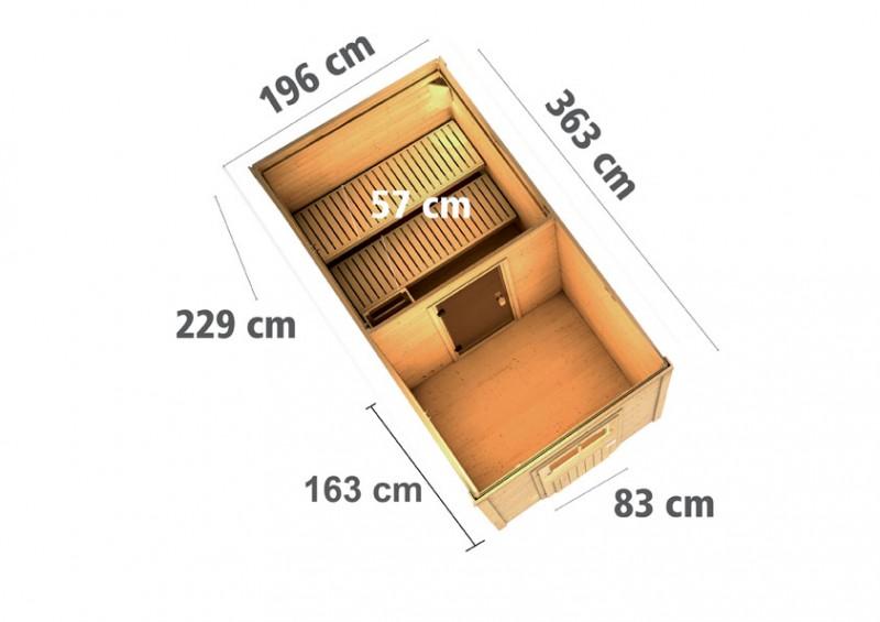 Woodfeeling 38 mm Saunahaus Taina inkl. Ofen 9 kW integr. Strg - naturbelassen - mit Vorraum