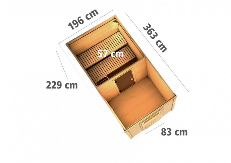 Woodfeeling Massives 38 mm Saunahaus Taina inkl Vorraum Ofen 9 kW integr. Strg  Gartensauna