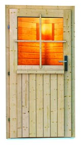 Woodfeeling 38 mm Saunahaus Taina inkl. Ofen 9 kW Bio externe Strg - naturbelassen - mit Vorraum