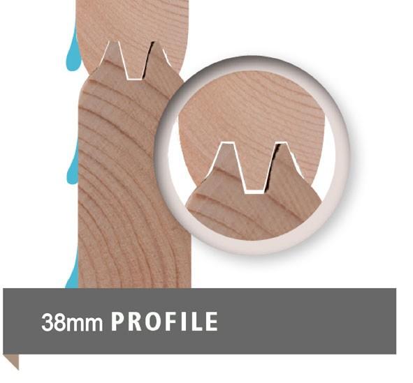 Woodfeeling 38 mm Saunahaus Pirva inkl. Ofen 9 kW Bio externe Strg - naturbelassen - Eckhaus - ohne Vorraum