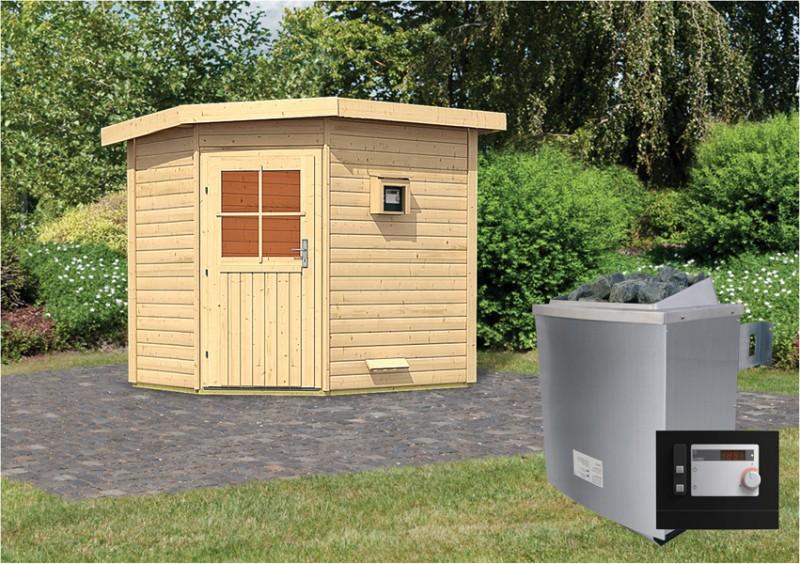 Woodfeeling Massives 38 mm Saunahaus Mayla  mit Eckeinstieg Ofen 9 KW externe Strg modern Gartensauna