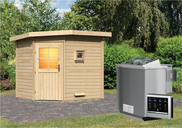 Woodfeeling 38 mm Saunahaus Mayla inkl. Ofen 9 kW Bio externe Strg - naturbelassen - Eckhaus - ohne Vorraum