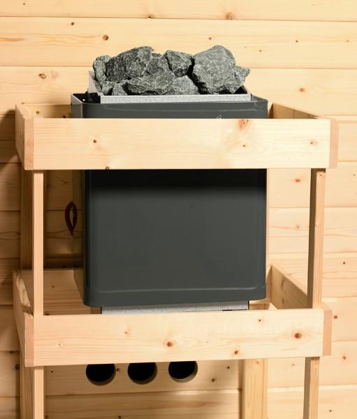 Woodfeeling Massives 38 mm Saunahaus Hilda  mit Eckeinstieg Ofen 9 kW integr. Strg  Gartensauna