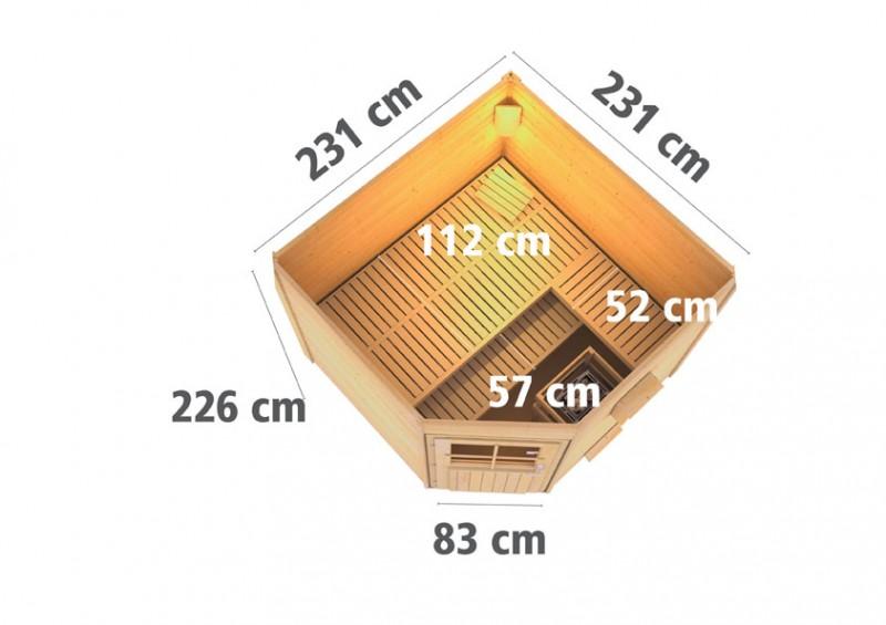 Woodfeeling 38 mm Saunahaus Hilda inkl. Ofen 9 KW externe Strg modern - naturbelassen - Eckhaus - ohne Vorraum