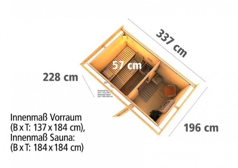 Woodfeeling Massives 38 mm Saunahaus Suva 1  Ofen 9 KW externe Strg modern Gartensauna