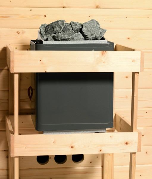 Woodfeeling Massives 38 mm Saunahaus Suva 1  Ofen 9 kW Bio externe Strg modern Gartensauna