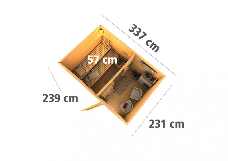 Woodfeeling 38 mm Saunahaus Suva 2  inkl. Ofen 9 KW externe Strg - terragrau - mit Vorraum