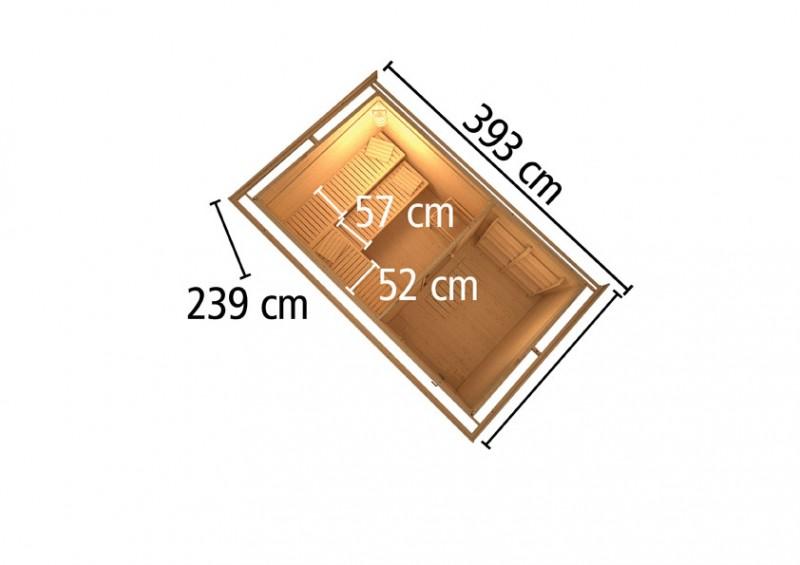 Woodfeeling 38 mm Saunahaus Suva 3 ohne Ofen - naturbelassen - mit Vorraum