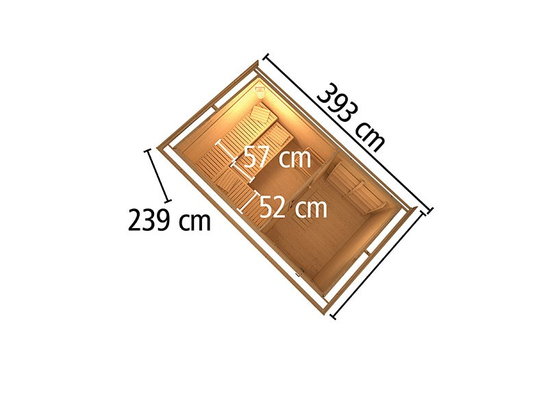 Woodfeeling 38 mm Saunahaus Suva 3 - naturbelassen - mit Vorraum