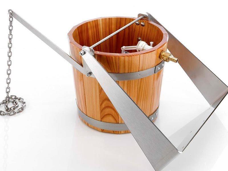 Sauna Zubehör Schwalleimer aus Holz mit Haltebügel