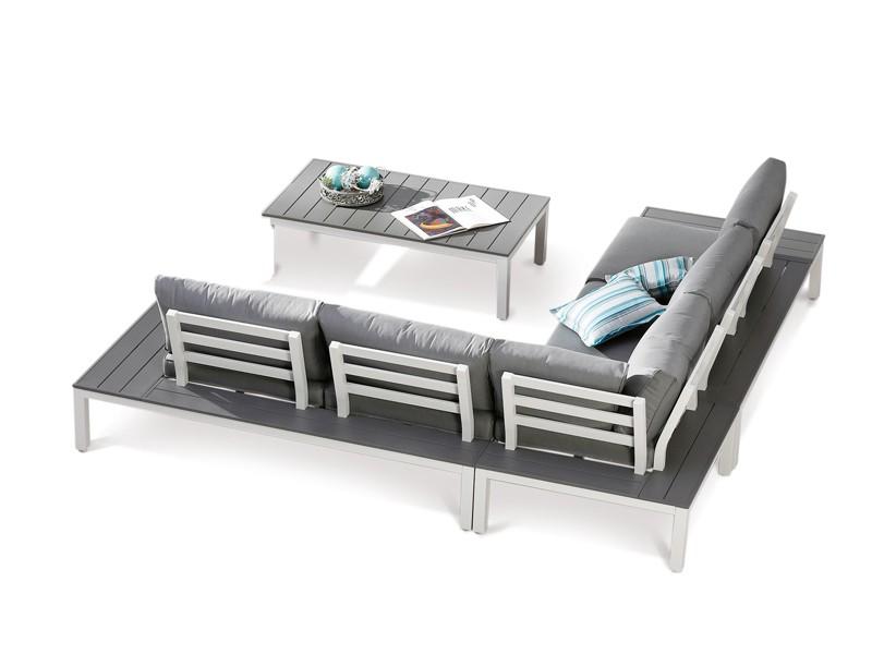 Best Lounge-Gruppe Santorin 4-tlg. - 277x277 cm - Aluminium/Sensotex - weiß/grau