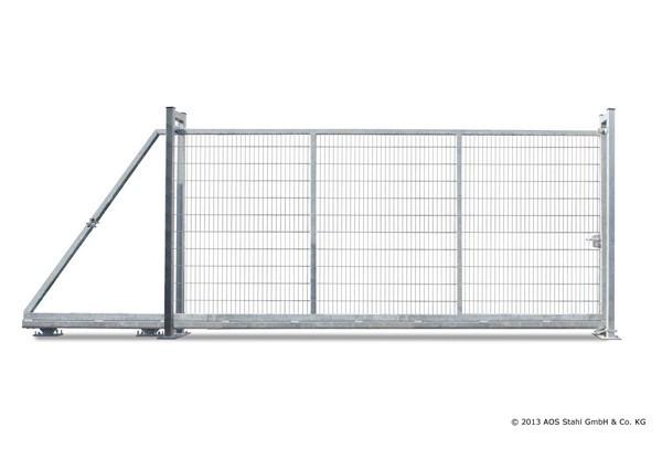 Doppelstabgitterzaun Schiebetor EasyStar - Zink (B: 5000 mm x H: 2000 mm)