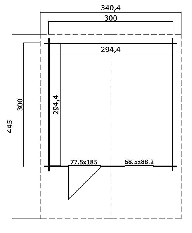 Lasita Maja Gartenhaus Blockbohlenhaus  Aktion 10 - 28 mm  - Sockelmaß: 300×300 cm