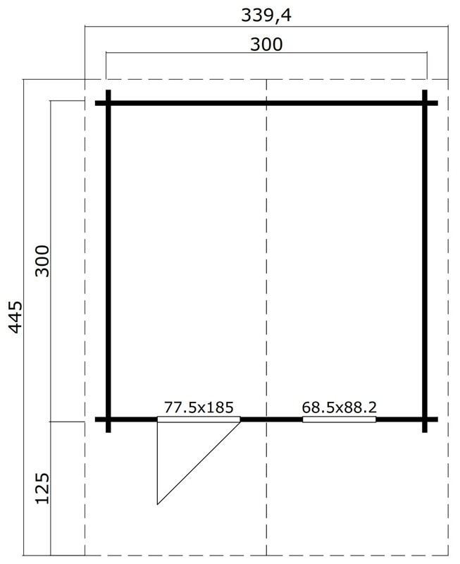 Lasita Maja Gartenhaus Blockbohlenhaus  Aktion 12 - 44 mm  - Sockelmaß: 300×300 cm