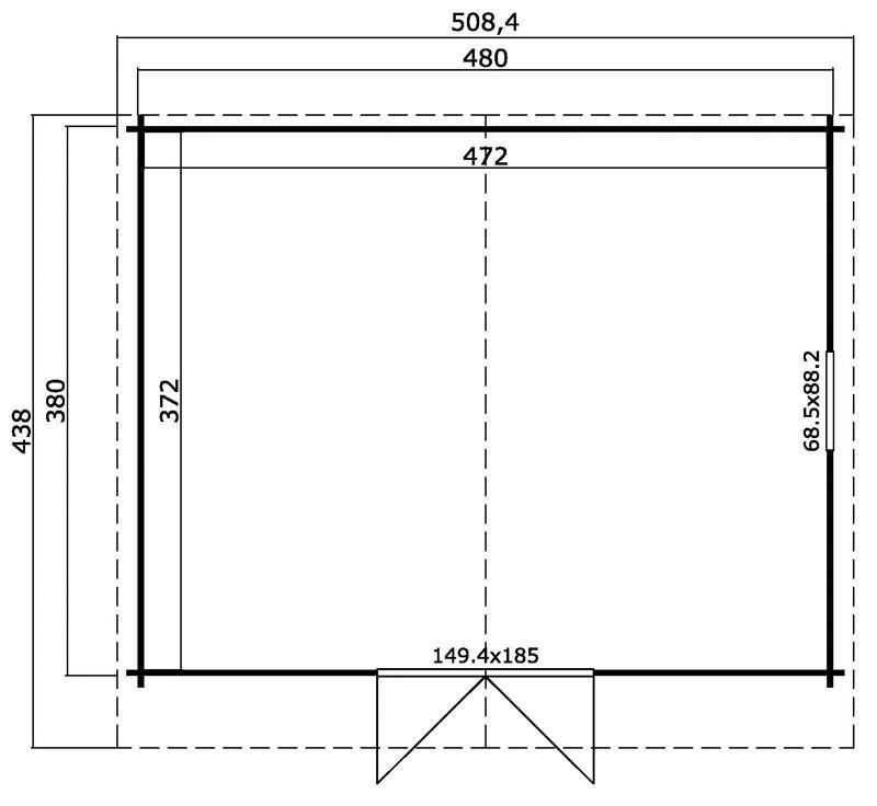 Lasita Maja Gartenhaus Blockbohlenhaus  Aktion 14-  40 mm  - Sockelmaß: 480×380 cm