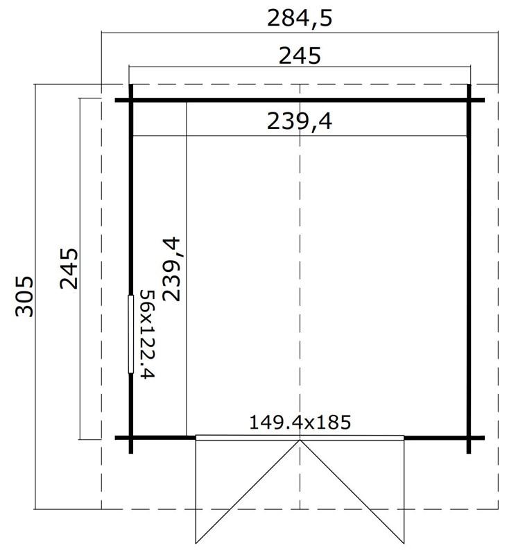 Lasita Maja Gartenhaus Blockbohlenhaus  Aktion 19  28 mm  - Sockelmaß: 245×245 cm