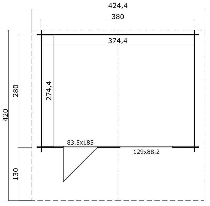 Lasita Maja Gartenhaus Blockbohlenhaus  Aktion 2 - 28 mm  - Sockelmaß: 380×280 cm