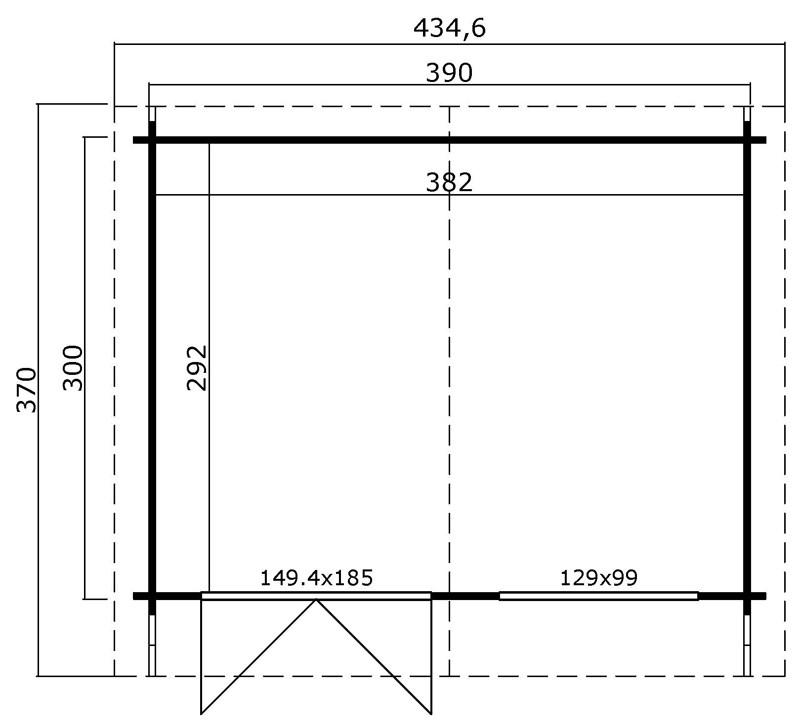 Lasita Maja Gartenhaus Blockbohlenhaus  Aktion 21 - 40 mm  - Sockelmaß: 390×300 cm