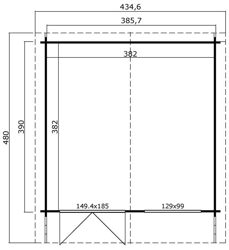 Lasita Maja Gartenhaus Blockbohlenhaus  Aktion 22 - 40 mm  - Sockelmaß: 390×390 cm