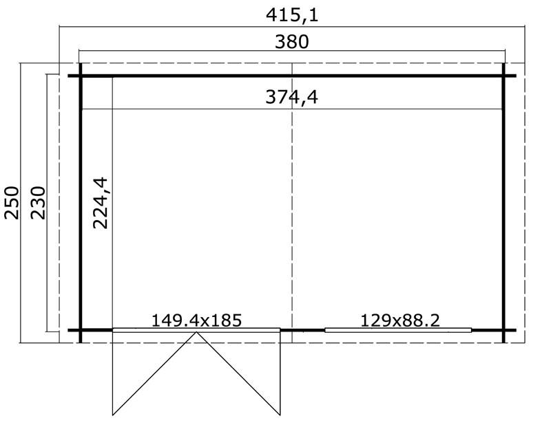 Lasita Maja Gartenhaus Blockbohlenhaus  Aktion 23 - 28 mm  - Sockelmaß: 380×230 cm