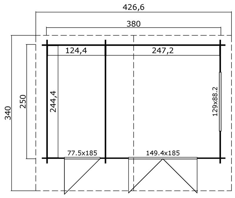 Lasita Maja Gartenhaus Blockbohlenhaus - 2-Raum Gartenhaus  Aktion 27 - 28mm  - Sockelmaß: 380×250 cm