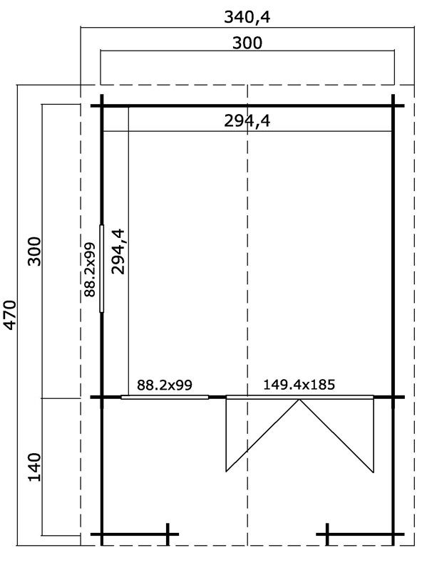 Lasita Maja Gartenhaus Blockbohlenhaus  Aktion 33 - inkl. Terrasse 140x300cm