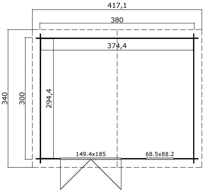 Lasita Maja Gartenhaus Blockbohlenhaus  Aktion 39 - 28 mm  - Sockelmaß: 380×300 cm
