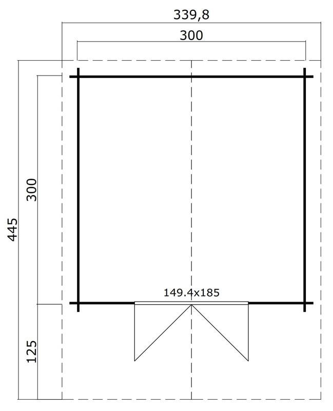 Lasita Maja Gartenhaus Blockbohlenhaus  Aktion 5 - 28 mm  - Sockelmaß: 300×300 cm