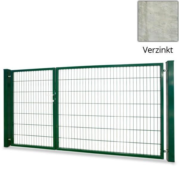 Doppelstabgitterzaun RohrrahmentorVARIO basic L/L - Zink (B: 3530 mm x H: 1800 mm)