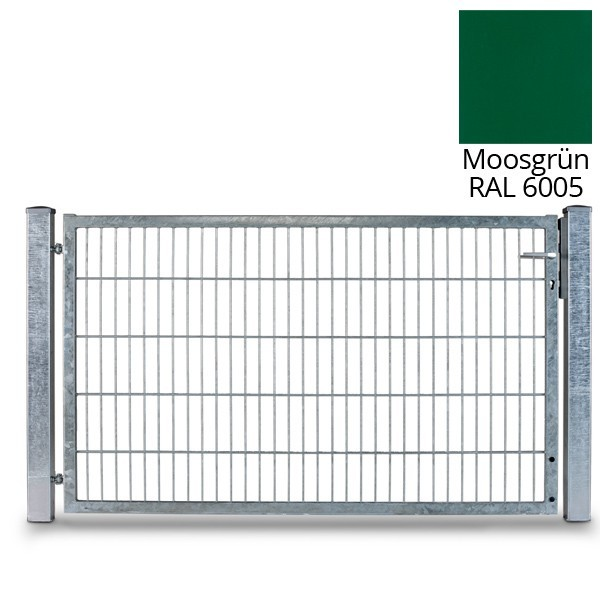 Doppelstabgitterzaun Flügeltor Vario UNO RAL6005 moosgrün - Breite 1010 / Zaunhöhe 2030 mm